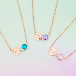 Lottie Initial Disc & Birthstone Personalised Necklace