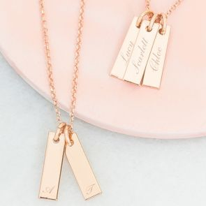 Lola Sterling Silver Bar Personalised Name Necklace