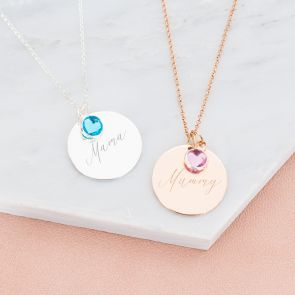Sterling Silver Khloe Personalised Disc Necklace