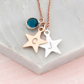Personalised Handstamped Star And Birthstone Necklace