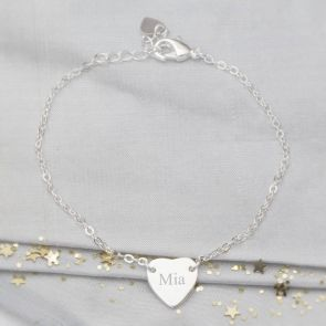 Silver Initial Heart Personalised Friendship Bracelet