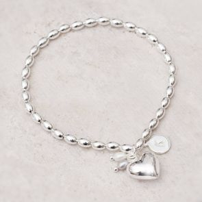 Katarina Silver Heart Charm Personalised Friendship Bracelet