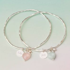 Maja Stone Heart Personalised Bangle
