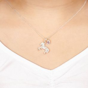 Mini Sterling Silver Pony Charm Kids Necklace