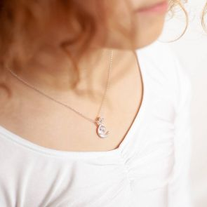 Mini Sterling Silver Moon And Star Charm Kids Necklace