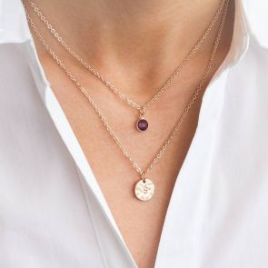 Personalised Hammered Disc Birthstone Layer Necklace