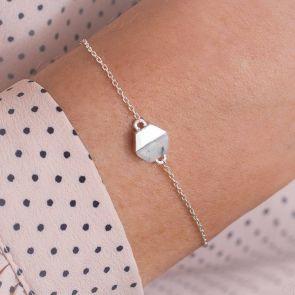 Rosie Personalised Marble Stone Hexagon Bracelet