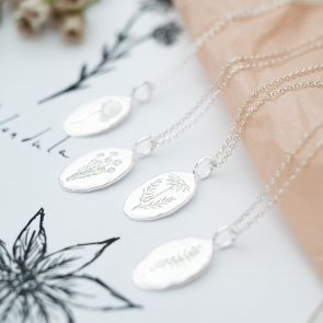 Sterling Silver Oval Birth Flower Personalised Necklace