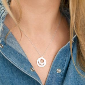 Double Eternal Ring Pendant Personalised Necklace