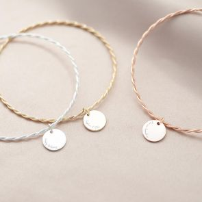 Personalised Message Disc Twisted Bangle Set