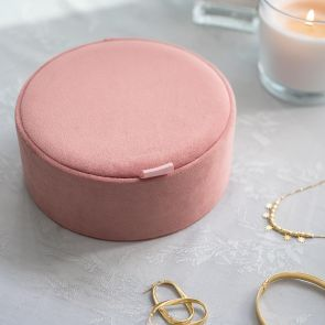 Personalised Round Velvet Jewellery Box
