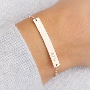 Hammered Bar Personalised Bracelet