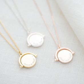 Round Spinner Personalised Message Necklace