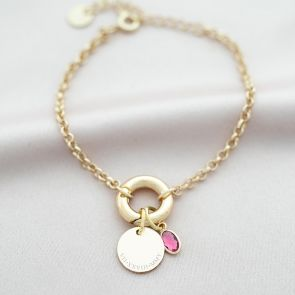 Runa Disc And Oval Birthstone Personalised Bracelet