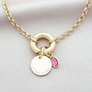 Runa Disc And Oval Birthstone Personalised Necklace