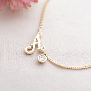 Script Initial and Micro Birthstone Personalised Bracelet
