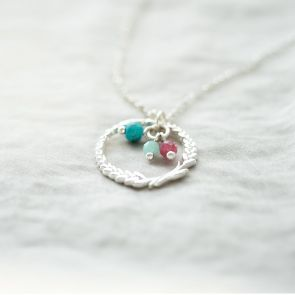 Silver Wreath Family Birthstone Personalised Necklace