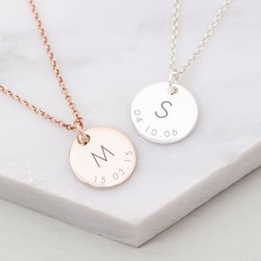 Sterling Silver Initial And Date Personalised Necklace