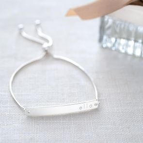 Sofia Sterling Silver Personalised Bar Slider Bracelet