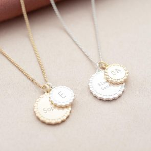 Star Edge Family Disc Personalised Message Necklace