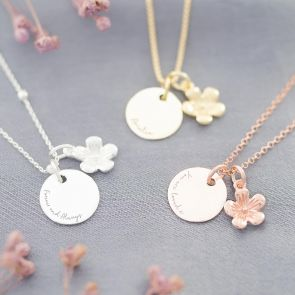 Sterling Silver Flower and Disc Personalised Message Necklace