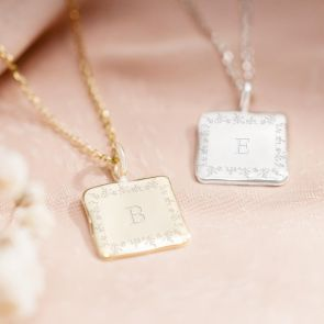 Sterling Silver Botanical Border Square Personalised Necklace