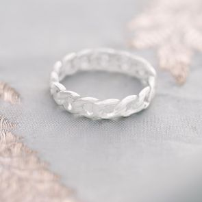 Sterling Silver Chain Personalised Stacking Ring