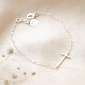 Sterling Silver Cross Personalised Bracelet