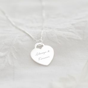 Sterling Silver Heart Charm Personalised Message Necklace