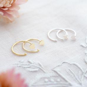 Sterling Silver Heart Pull Hoop Personalised Earrings