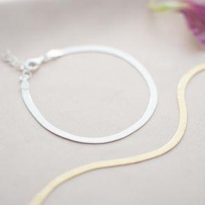 Edie Personalised Large Herringbone Chain Bracelet