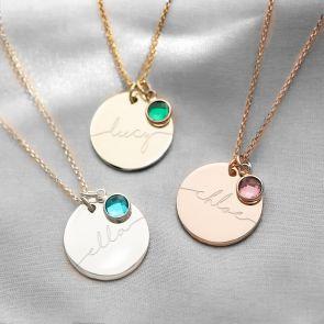 Sterling Silver Large Esme Birthstone Name Necklace