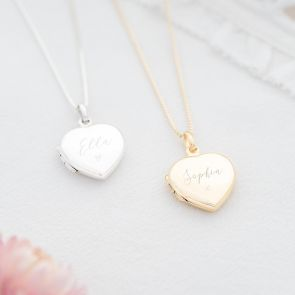 Sterling Silver Name and Illustration Personalised Heart Locket