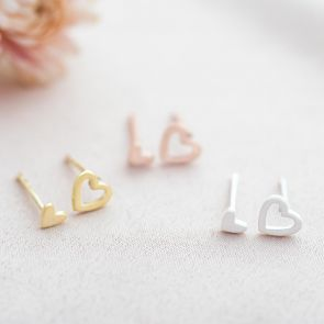 Sterling Silver Open Heart and Mini Heart Personalised Earrings