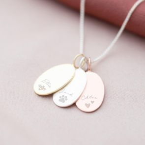 Sterling Silver Oval Sia Illustration and Name Personalised Necklace