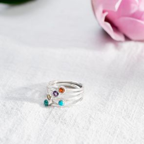 Stacking Semi Precious Birthstone Sterling Silver Ring