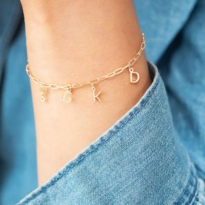 Sterling Silver Statement Chain Initial Personalised Charm Bracelet