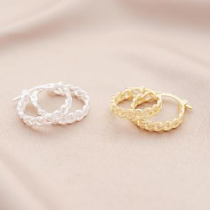 Sterling Silver Statement Chain Personalised Hoop Earrings