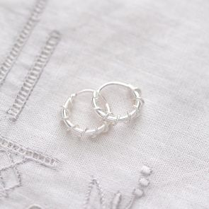 Sterling Silver Twist Hoop Personalised Earrings