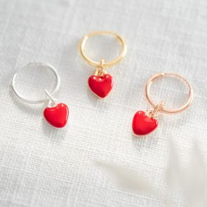 Enamel Heart Hoop Earrings