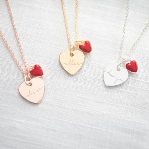 Esme Heart and Enamel Charm Personalised Necklace