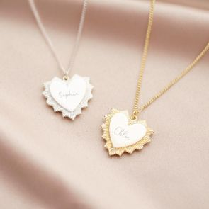 Vintage Heart Pendant Personalised Name Necklace