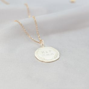 Garland and Date Disc Personalised Necklace