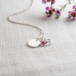 You and Me Disc and Birthstone Personalised Necklace