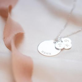 gifts for mum disc charms Personalised Triple Disc Sterling Silver Necklace engraved disc Mothers day personalised discs disc charm