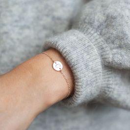 Personalised Disc Bracelet Opal Bracelet Dainty bracelet Initial Bracelet Rose Gold initial /& Opal Bracelet Rose Gold Bracelet