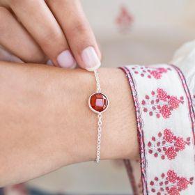 Carnelian Alexia Personalised Semi Precious Birthstone Bracelet