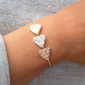 Mixed Metal Heart Slider Charm Bracelet
