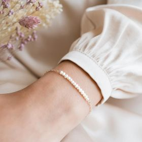 Rose Gold Freshwater Pearl Bracelet with Lobster Clasp