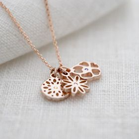 Rose Gold Birth Flower and Birthstone Charm Necklace